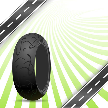 retreading: Black motorcycle rubber tire