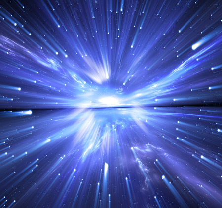 warp speed: Time warp, traveling in space with stars. Stock Photo