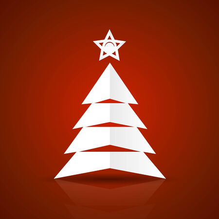 Abstract flat paper Christmas tree on red background Vector