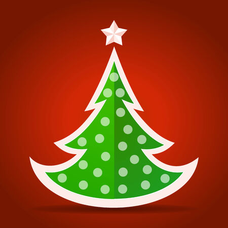 Abstract flat green Christmas tree on red background Vector