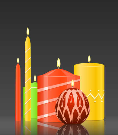 advent: set burning candles on glossy dark background