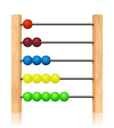 abaco: Abacus con perlas de colores de madera en frente de fondo blanco Vectores