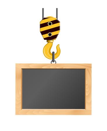 truck crane: Blackboard hanging on the crane hook
