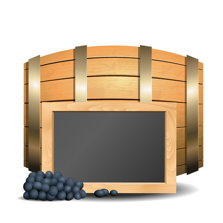 wooden barrel: Barrel with wine and blackboard in the foreground