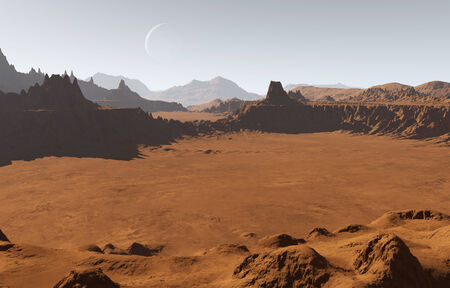 martian: Martian landscape with craters and moon
