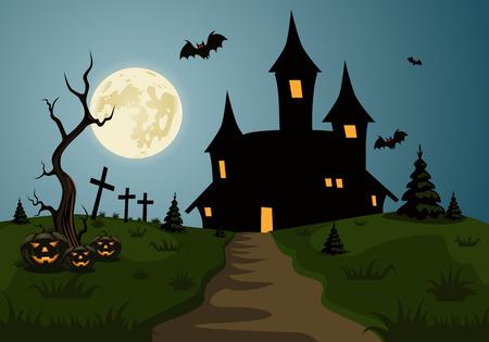 怖いハロウィーンの背景シーン城と満月
