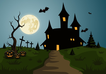 castle silhouette: Scary Halloween background scene with castle and full moon