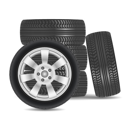 winter tire: Rubber tire icon isolated on white background