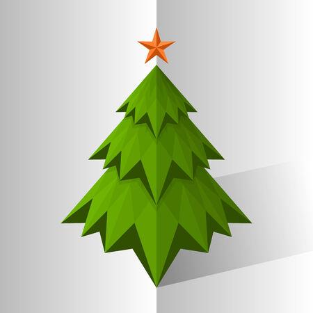 christmas tree illustration: Green triangle Christmas tree, vector illustration Illustration