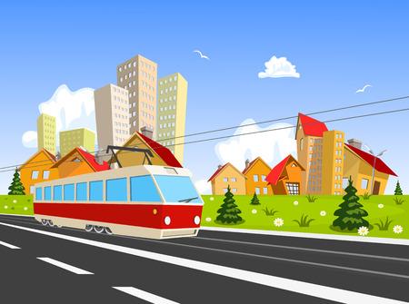 streetcar: Ciudad colorida del vector con tranv�a Vectores