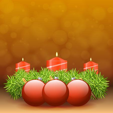 adventskranz: Adventskranz aus Zweigen mit roten Kerzen und verschiedene Ornamente