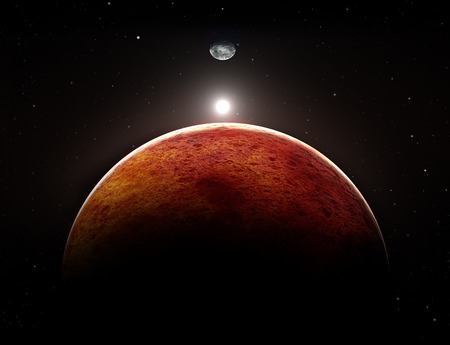 red black: Planet Mars with moon, illustration