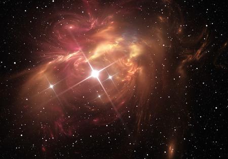 Supernova explosion with nebula in the background Standard-Bild