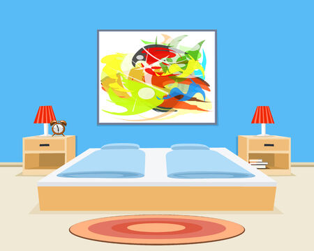 bedroom wall: Bedroom Background. Vector illustration