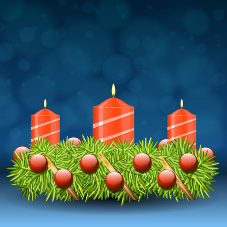 advent candles: Advent wreath of twigs with red candles and various ornaments