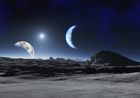 fantasy alien: Earth Like Planet with two Moons