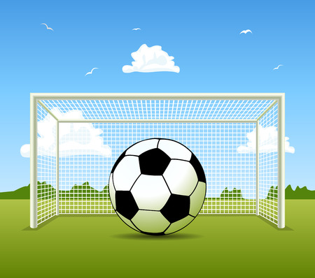 soccer field: Vector Soccer ball on the green field