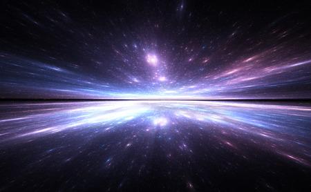Tiempo fondo urdimbre, viajando en el espacio.