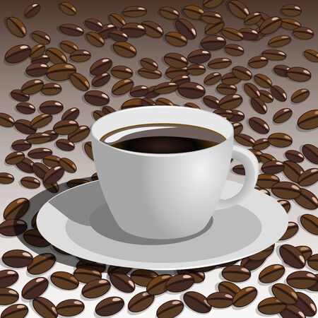 strew: Vector coffee cup with coffee beans
