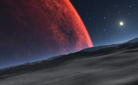 mars: Deimos with the red planet Mars in the background Stock Photo