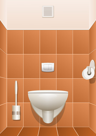 urinate: Toilet in a building interior. Vector illustration