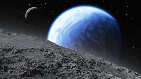 moons: Two moons orbiting an Earth-like planet Stock Photo