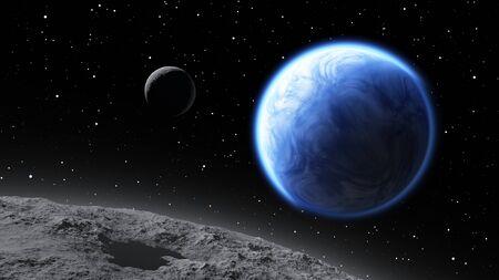 earthlike: Two moons orbiting an Earth-like planet Stock Photo