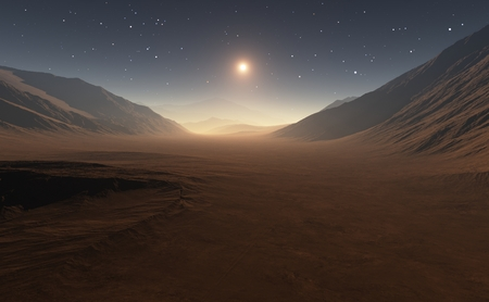 cosmology: Sunset on Mars. All art elements made by me. Used software Terragen3 Stock Photo