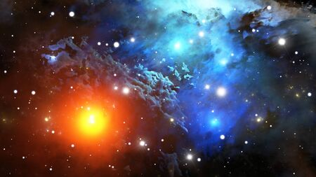 cosmology: Colorful Nebula. Cloud of gas and dust blocks the light of distant stars. Stock Photo