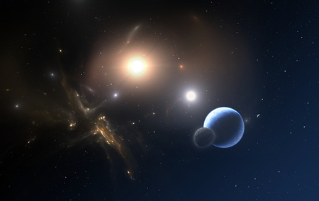 The Extrasolar planet and two stars orbit about their common center of mass photo
