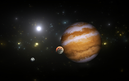 moons: Extrasolar planet with moons. Stock Photo