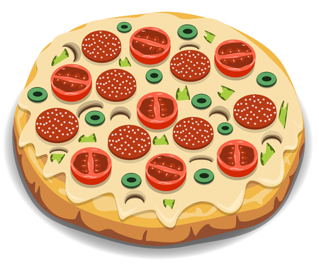 italian sausage: Vector Italian pizza with tomato, sausage and mushrooms