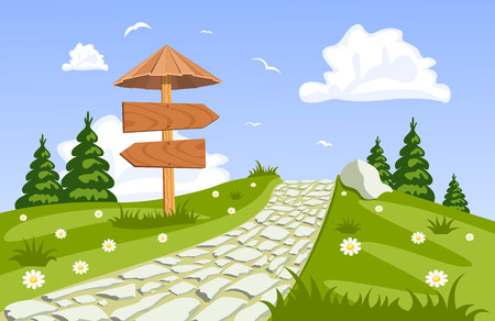 serene landscape: Vector summer landscape with a walkway