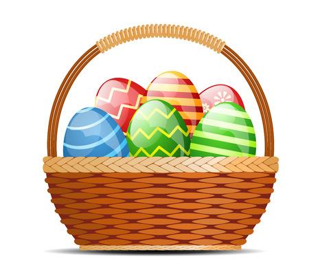 イースターの卵をバスケット  イラスト・ベクター素材