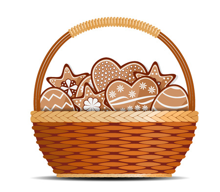 basket: Basket with ginger cakes into white background