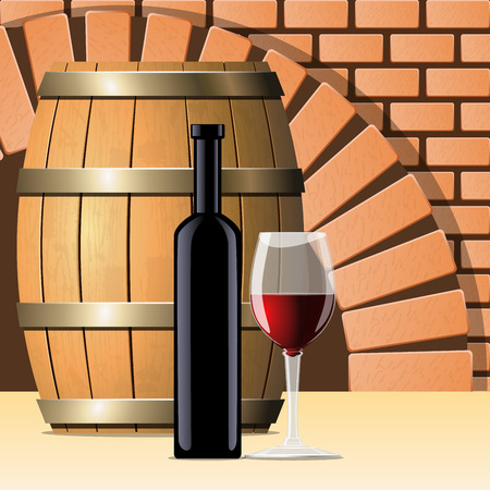 wine cellar: Vector wine cellar with wine bottle and glass