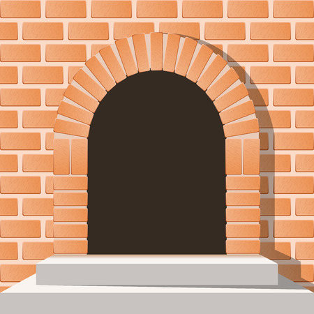 ladrillo: Puerta medieval arqueada en una pared de ladrillo con escaleras Vectores