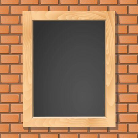 Blackboard on brick wall, vector illustration Vector
