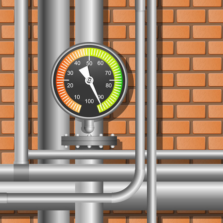 condenser: Pipes and manometer in a boiler room. Vector Illustration