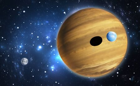Extrasolar planet. Gas giant with moons. photo