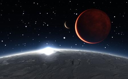 バック グラウンドで赤い惑星火星のフォボスの日の出