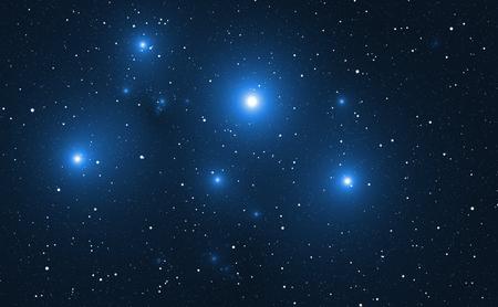 Space background with blue bright stars. Archivio Fotografico