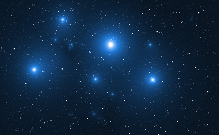radiancy: Space background with blue bright stars. Stock Photo