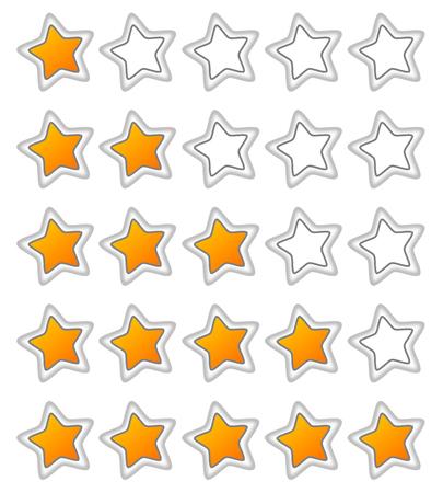 votaciones: Cinco estrellas clasificaciones de bot�n de la web
