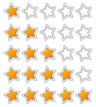 five stars: Five stars ratings web button