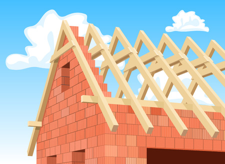 rafter: Detail Modern house under construction. Illustration Illustration