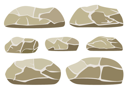stones: Vector illustration of the big and small rocks on a white background