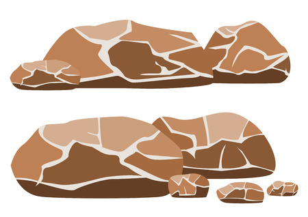 big and small: Vector illustration of the big and small rocks on a white background