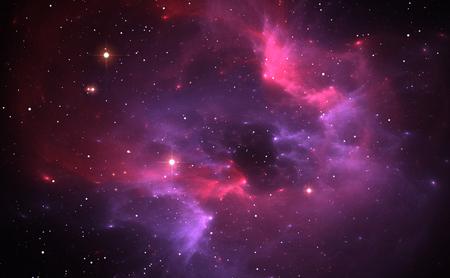 Space background avec nébuleuse pourpre et étoiles