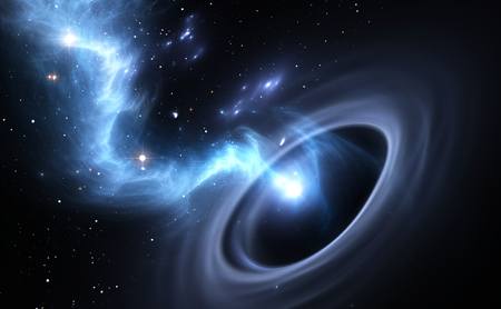 black: Stars and material falls into a black hole Stock Photo